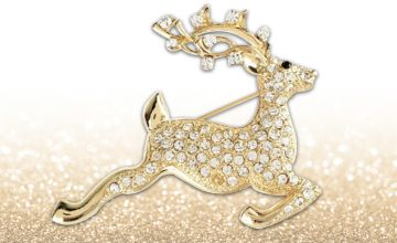 £4.99 for a golden reindeer brooch from Solo Act Ltd
