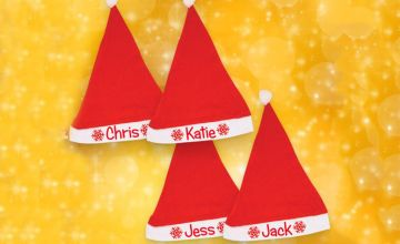 £6.99 instead of £17 (from We Personalize) for a set of four personalised Santa hats - save 59%