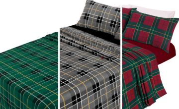 £14 (from Ehome Store) for a single brushed cotton tartan bedding sheet set, £18 for a double size or £21 for a king size - save up to 61%