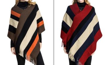 £10 instead of £39.99 (from Litnfleek) for a women's striped tassel poncho - save 75%