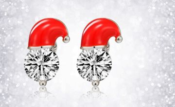 £3.99 instead of £18 for a pair of crystal santa hat Christmas earrings from Solo Act Ltd - save 78%