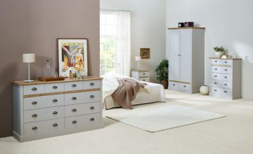 £329 (from Steens Group) for a three-piece bedroom set - get a bedside table, small chest and large chest in grey or white!