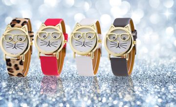 £3.99 instead of £25 for a ladies cat geek watch - choose from four designs! from Solo Act Ltd - save 84%