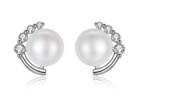 £12 instead of £59 for a Crystal Moon & Pearl Stud Earrings from Genova International Ltd - save 80%