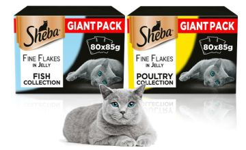 £22.99 (from Trojan) for a selection of 80 x 85g Sheba fine flakes in jelly pouches