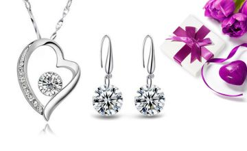 £12 instead of £32.01 (from Sreema London) for a sterling silver heart necklace and drop earrings - save 63%