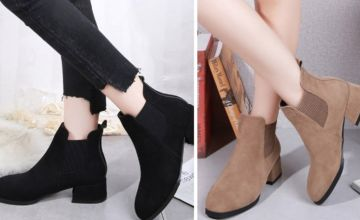 £14 (from MBLogic) for a pair of women's thick heel elastic Martin boots