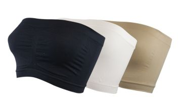 £5 for a pack of three Cascabelle strapless bandeau bras, £9 for a pack of six - get black, beige and white!