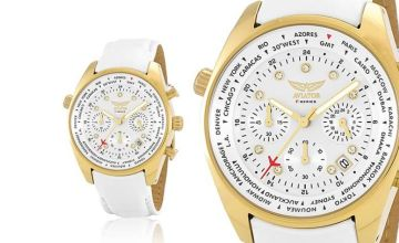 £19.99 instead of £144.01 (from Brand Arena) for a ladies' white and gold aviator watch - save 86%