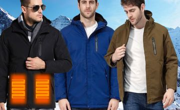 £29.99 instead of £119.99 (from Wish Whoosh Offers) for a men's three-zone heated coat - save 75%