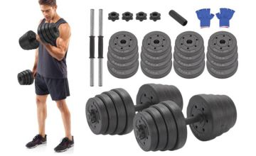 £24.99 instead of £59.99 (from Vivo Mounts) for a 30kg deluxe dumbbell set - save 58%