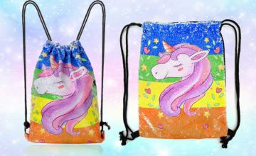 £9.99 (from Spezzee) for a unicorn sequin drawstring back pack