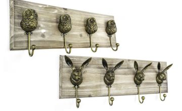 £17.99 (from Jack Stonehouse) for a set of four antique style animal coat hooks - choose from hare or owl designs