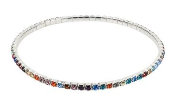 £5.99 instead of £35 for a Single Row Multicoloured Sterling Silver-Plated Anklet from Your Ideal Gift - save 83%