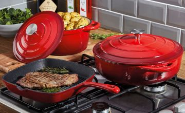 £74.99 instead of £199.95 (from CJ Offers) for a Cooks Professional three-piece cast-iron cookware set - save choose from six colours and save 62%