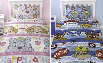 £9.99 instead of £36 for a peek single Paw Patrol reversible single duvet cover set or £12 for a bright single design - save up to 72%