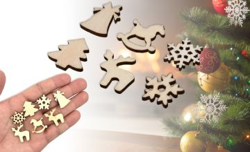 £2.49 instead of £9.99 (from Domo Secret) for 30-piece DIY craft wood chip Christmas decorations, £3.99 for a 50-piece set, or £4.99 for a 100-piece set - save 75.08%