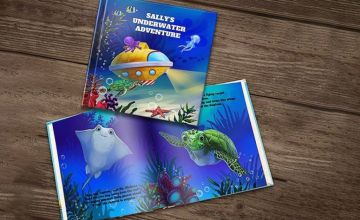 """£4.99 instead of £14.99 (from Dinkleboo) for a """"The Underwater Adventure"""" personalised story book in paperback, or £7.99 instead of £23.99 for a book in hardback – save up to 67%"""