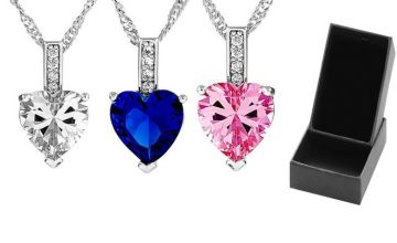 £4.99 instead of £69.99 for a heart-cut zircon necklace - choose from three colours from GameChanger Associates - save 93%
