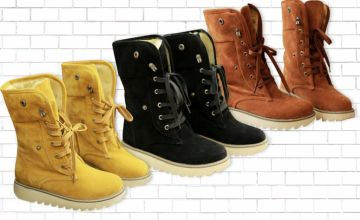 £16 (from My Blu Fish) for a pair of faux fur-lined lace-up boots in black, beige, brown or yellow - choose from UK shoe sizes 4-8