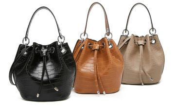 £10 (from Belle Accessories) for a patent croc bucket bag – choose from three colours!