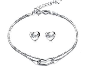 £9.99 instead of £25 (from Sreema London) for a 925 sterling silver continuous open heart bracelet and studs set - save 60%