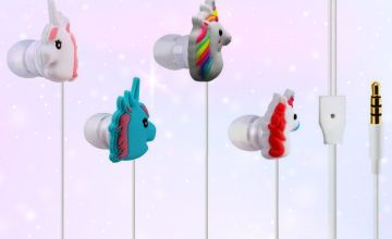 £5.99 instead of £19.99 for a pair of unicorn earphones - choose from four colours and save 70%