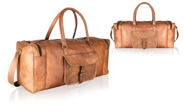 £85 (from Woodland Leathers) for a vintage tan real leather holdall