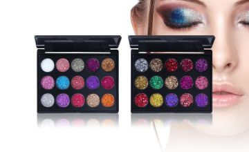 £4.99 instead of £39.99 (from LitnFleek) for a travel-size 15 colour diamond glitter eyeshadow palette – choose from two styles and save 88%