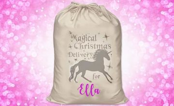 £6.99 (from Carrera Personalised Gifts) for a personalised magical delivery unicorn Christmas sack!