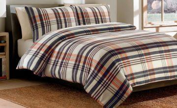 £7.99 instead of £46.98 (from Five Minutes More) for a single beige brushed cotton check duvet cover set - save 83%