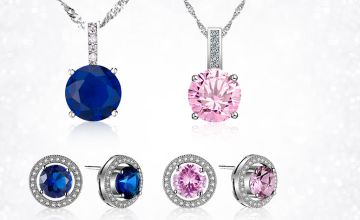 £12 instead of £99 (from Your Ideal Gift) for a brilliant cut lab-created Sapphire and Rhodium-plated pendant and earrings set – choose from pink or blue and save 88%.
