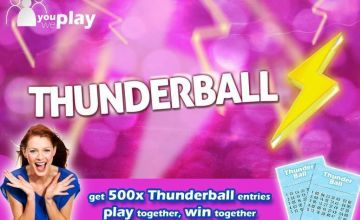 £5 instead of £20 for 500 Thunderball lines from You Play We Play - save 75%