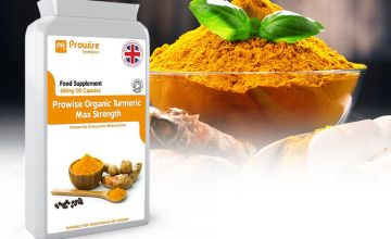 £7.99 instead of £37 (from Prowise) for a four month supply* of max strength organic Turmeric tablets - save 81%