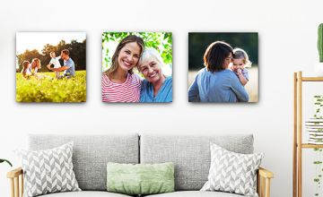 Give your favourite memories the treatment they deserve with a set of three 30cm x 30cm personalised canvas prints - save 88%