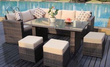 £499 instead of £970 (from Dreams Outdoors) for a nine-seater L-shaped rattan dining set or £529 for a rattan set and cover - save up to 49%
