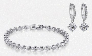 £16 instead of £99.99 for a crystal bracelet and hoop earrings made with crystals from Swarovski from GameChanger Associates - save 84%