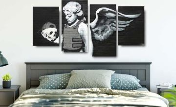 £14 instead of £119.95 (from Deco Matters) for a four-panel Banksy canvas - save 88%