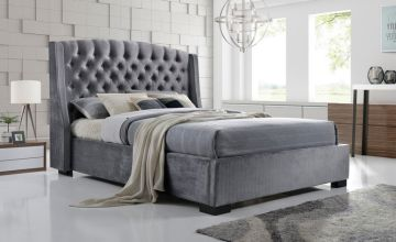 From £329 instead of £899 (from FTA Furnishing) for a grey velvet wingback double bed, or from £349 for a king bed - choose from two mattress options and save up to 63%