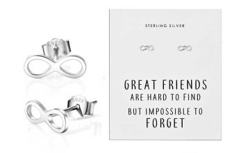£5.99 instead of £15.99 (from Philip Jones) for a pair of sterling silver infinity friendship quote earrings - save 63%
