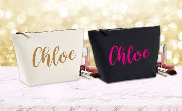 £8 instead of £24.99 (from Personalised Gifts Market) for a personalised makeup bag - choose black or cream and save 68%