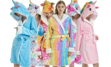 From £12 instead of £49.99 (from Blu Fish) for a unicorn dressing gown – choose from six designs and save 75%