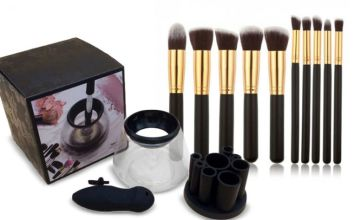 £14 instead of £39.99 (from Wow What Who) for a makeup brush cleaner and 10-piece brush set –save 65%