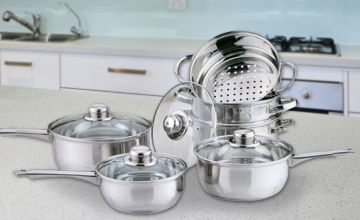 £19.99 instead of £49.99 for a 10-piece pan and steamer set from Direct2Public Ltd - save 60%