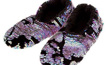 Go to Product: Velvet Reversible Sequin Slippers - Black