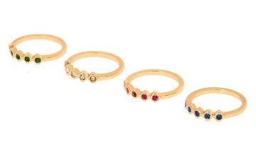 Go to Product: Gold Royal Rainbow Ring Set - 4 Pack