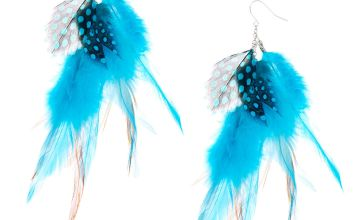"Go to Product: Silver 4.5"" Boho Feather Drop Earrings - Turquoise"