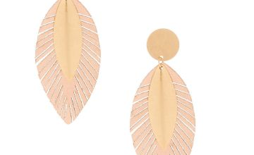 "Go to Product: Gold 3"" Metallic Leaf Drop Earrings"