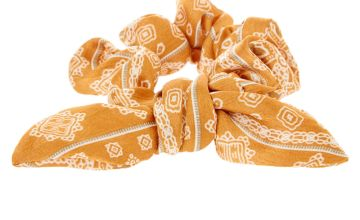 Go to Product: Paisley Knotted Bow Hair Scrunchie - Mustard