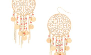 "Go to Product: Gold 3"" Filigree Bead Drop Earrings - Coral"